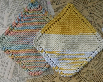 Cotton Knit Dishcloths   Set of Two, Yellow and Gold, Muted Multi   Dishcloths   Vegan    Washcloths   Ecofriendly   Reusable   Natural
