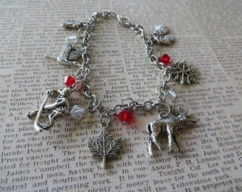 Canada Themed Silver Charm and Crystal Bracelet