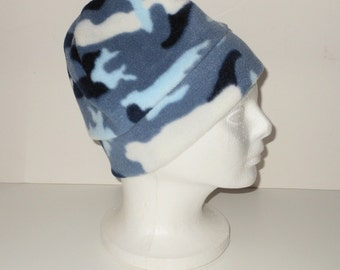 Blue Camoflauge Print Adult Fleece Beanie Hat With Extra Warmth Band - Blue Hat - Camo Hat - Gift For Her - Gift For Him - Fathers Day Gift