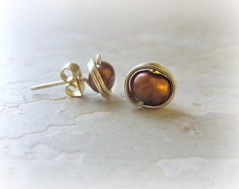 Brown Pearl Studs, Freshwater Pearl Posts, Gold Stud Earrings, Real Pearl Posts, Pearl Stud Earrings, Brown Gold Earrings, Gold Fill Stud