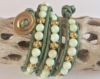 Green Leather & Pale Green Gemstone with Gold Beaded Triple-wrap Bracelet