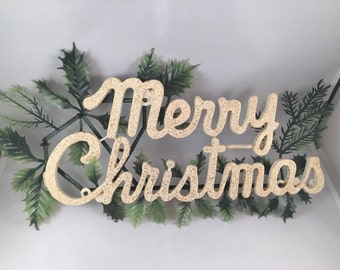 Vintage Gold Glitter Merry Christmas Sign