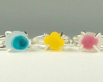 Custom Made Genuine Sea Glass Ring In Sterling Silver - Choose Your Color And Size - Made To Order - Solitaire Rings
