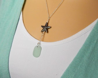 Y Necklace, GENUINE Aqua Sea Glass Necklace, Beach Glass Necklace, Seaglass Necklace With Starfish, Fine Silver Starfish Necklace, Gift