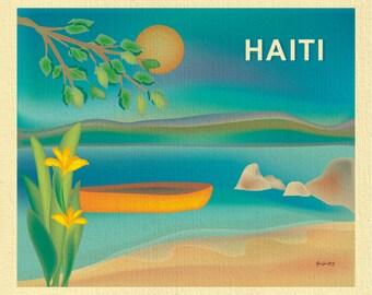 Haiti art, Haiti map, Haiti travel art print, retro Caribbean poster, Haiti beach skyline, Haitian island art, Loose Petals - style E8-O-HAI