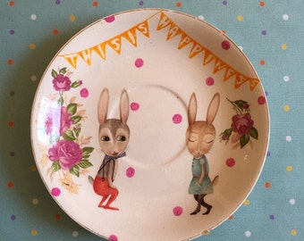 This is Happiness Bunny Couple Vintage Illustrated Plate