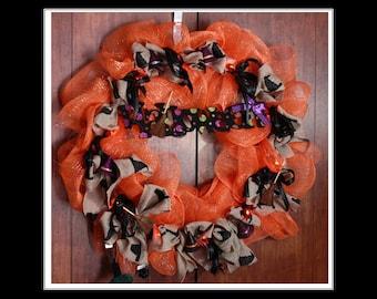 Orange and Black Halloween Deco Mesh Wreath - Handmade with sign and lights