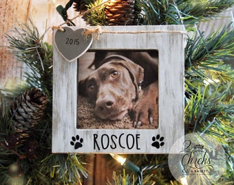 Personalized Pet Christmas Ornament, Picture Frame Ornament, Dog Christmas Ornament, Wooden Pet Ornament