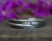 Set of 4 Rustic Sterling Silver Cuff Bracelets - Bohemian Bracelet Boho Chic Textured Cuff Bracelet Set Gift for Women Wife Mom Girlfriend