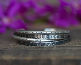 Gift for Her Set of 4 Rustic Sterling Silver Cuff Bracelet Boho Bracelet Textured Cuff Bracelet Set Gift for Women Wife Girlfriend Valentine