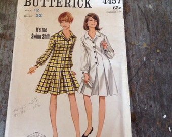 Vintage Butterick Sewing Pattern 4457  Dress Size 12 Bust 32