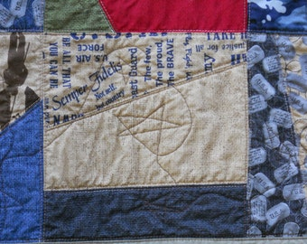 Military Quilt Veterans Day Quilt Memorial Day Throw Quilt Patriotic Lap Quilt Armed Forces Navy Army Air Force Marines Fatigues Wheel Chair