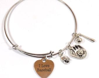 "Baseball Bracelet  -  ""I love baseball"" Expandable Silver Bangle Bracelet with 5 Charms  - Personalization Available (B-14)"