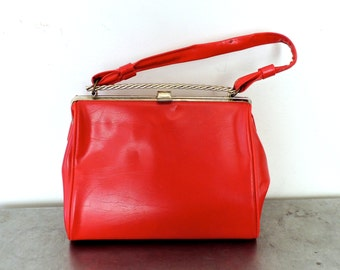 vintage red handbag - 1950s-60s mod red patent leather purse