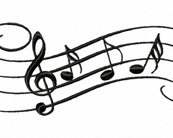 Custom machine embroidery MUSIC STAFF with NOTES