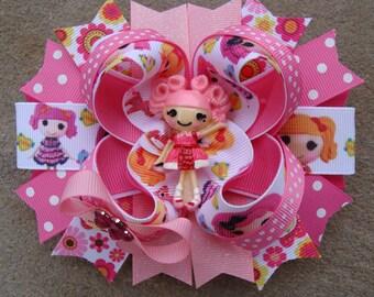Lalaloopsy Hair Bow boutique hair bow large hair bow stacked hair bow blue Lalaloopsy hair bow pink Lalaloopsy hair bow