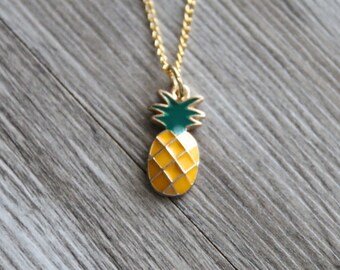 Pineapple Necklace Personalized Gold Tone, Pineapple Jewelry, Food Necklace Gift, Summer Gold Necklace