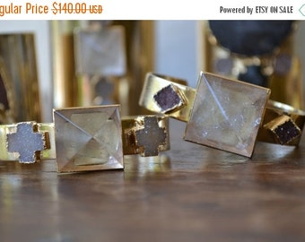 ON SALE Pyramid Divinity /// Electroformed Pyramid and Druzy /// Gold/// Bracelet