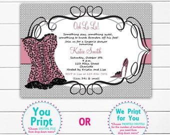 Lingerie Shower Invitation Pink Leopard Shower Invitation Bridal  Shower Invitation