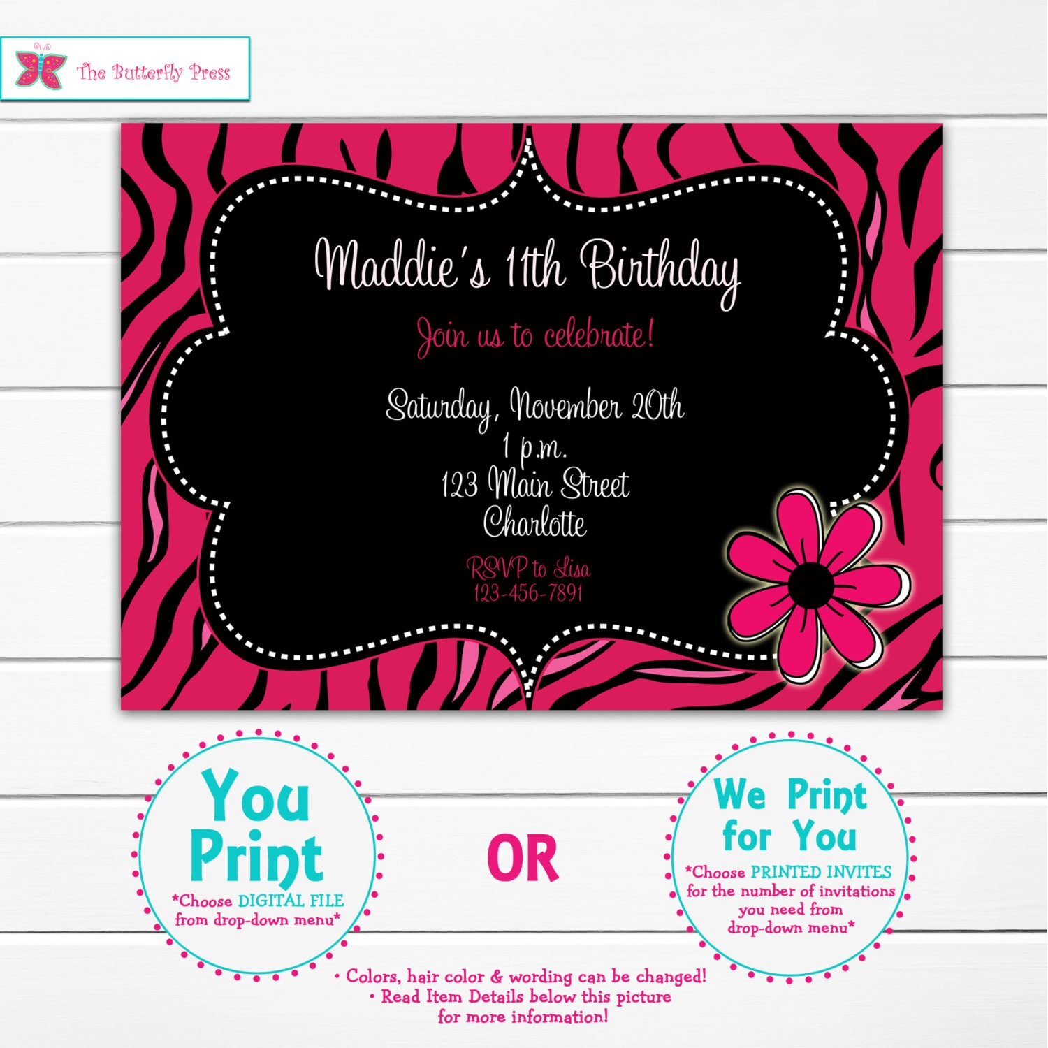 Pink Zebra Print Girls 1st Birthday Invitation: Pink Zebra Girls Birthday Party Invitation Funky Hot Pink