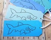 Shark Gift Tags Kids Birthday Party Beach Wedding Shark Week