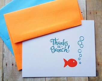 Goldfish Thank You Cards Thanks a Bunch Kid's Birthday Party