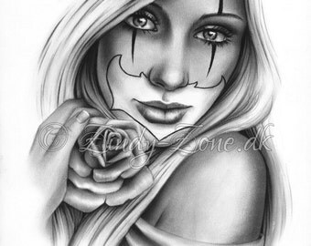 Sweet Chicano Tattoo Clown Girl Rose Art Print Glossy Emo Fantasy Girl Zindy Nielsen