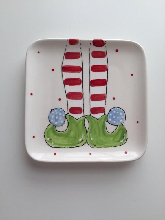 Hand painted, ceramic, Elf feet plate, Christmas dessert plate, elf dessert plate, holiday plate, kids Christmas plate