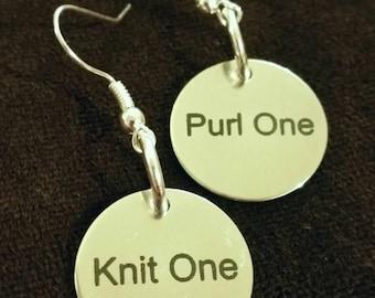 Knit one Purl one silver Earrings Dangle drop Stocking Stuffer Knitters Gift knitting Knitting Jewelry Yarn Lovers K1P1 yarnho Yarnista fyc