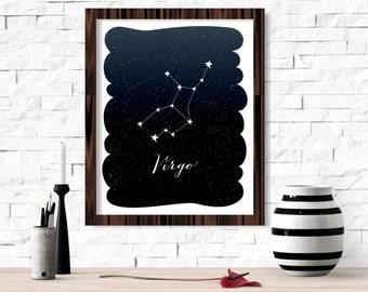 Virgo Zodiac Constellation Wall Art Printable 8x10 - Instant Download Birthday Horoscope Astrology Stars Night Sky Poster Home Decor Room