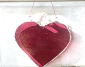 Raspberry Heart- 5 inch stained glass heart