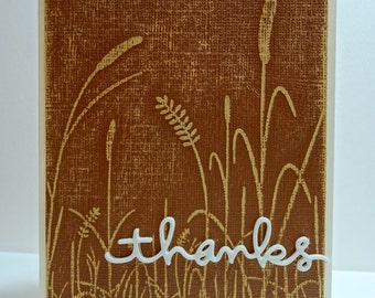 Handmade Brown Cattail Distressed Thank You Card