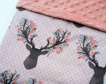 Baby Blanket - Minky Baby Blanket - Deer Baby Bedding - Antler Blanket - Pink Minky Blanket - Baby Shower Gift - Woodland Blanket