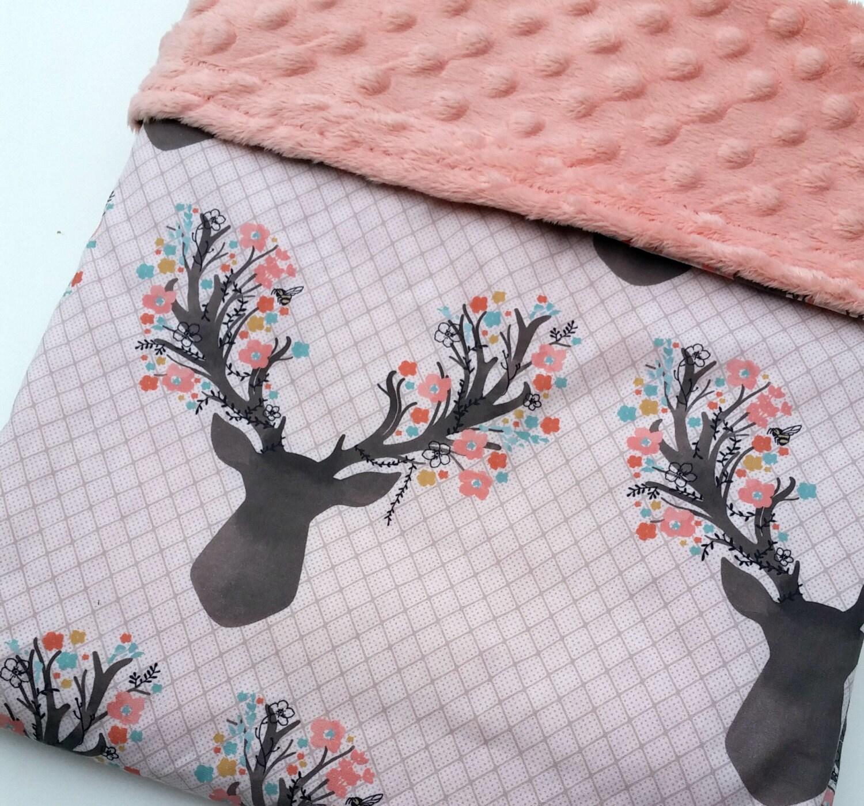Baby Blanket Minky Baby Blanket Deer Baby Bedding Antler