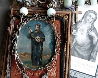 Antique Gothic Memento Mori Saint Holding Skull Rosary Necklace, Old World Adornment, by RusticGypsyCreations