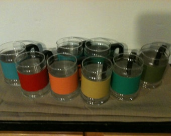 Set of 8 Glass Cups with Leather Strapping