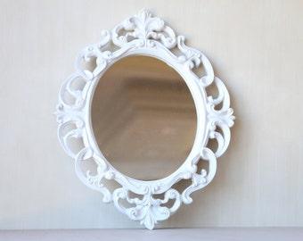 Vintage White Oval Decorative Frame Mirror - Vintage Home Decor Chic