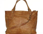 Tan Leather Tote // Leather Handbag // Shoulder Cross body Bag Nora Bis XL fits a 17 inches laptop