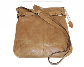 Distressed Light Tan Genuine Leather Messenger Bag Leather Cross-body Purse Messenger bag Leather Cross-body Messenger Bag iPad Bag Vidal!