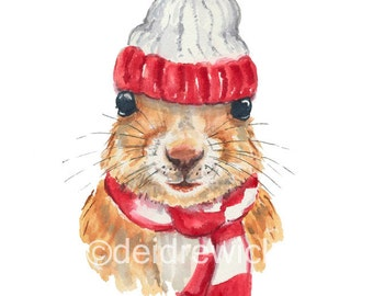 Squirrel Watercolor - Painting PRINT, Nursery Art, Winter Squirrel, Nursery Decor, Squirrel in a Hat