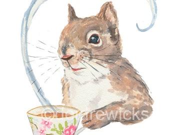 Squirrel Watercolor - 11x14 Illustration PRINT, Squirrel with Tea Cup, Funny Squirrel Art, Kitchen Art
