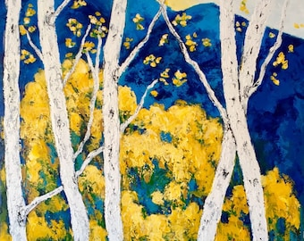 Aspen/Birch Original Acrylic Painting on. 30  x 48 x 1 Gallery wrapped Canvas Ships Free in US Ready to Ship