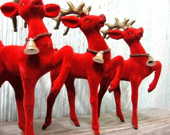 ON SALE Beautiful Vintage Herd of 5 Red Velvet Flocked Plastic Reindeer, Retro Made in Japan Prancing Christmas Deer with Bells