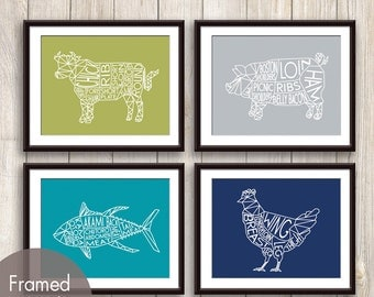 Geometric Butcher Diagrams Series B Cow, Pig, Chicken and Tuna Fish  - Set of 4 Art Prints (Tapas, Stone, Oceanic, Navy) Kitchen Wall Art