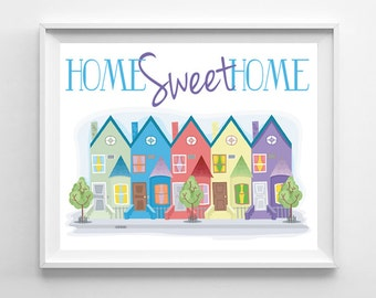 HOME SWEET HOME Townhouses, Town House, Row Houses, Design Art File - 8x10 Wall Art, Digital.  Instant Download & You Print - Wall Decor