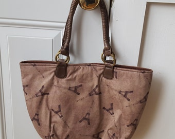 Eiffel Tower Fabric Handbag Cotton Bag Brown Rustic