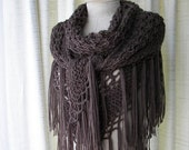 SALE Brown TAUPE Hand Knit Shawl Wrap Cover Up in SOFT Acrylic/  Bridal Shawl/ Shawl with Fringes/ Triangle Scarf
