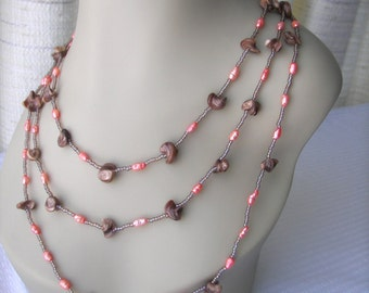 Shells Pearls Sun: Beaded Artisian Necklace in Brown Coral/  USA