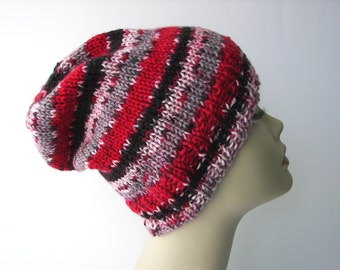 LAVA: Varigated RED Hand Knit Beanie in SOFT 100% Anti Pill Acrylic