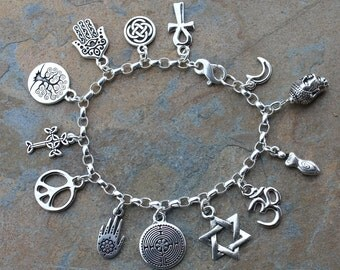 Anklet or Women's plus size Peace Silver Bracelet- religions coexist- peace sign, om,  tree of life, cross, ankh, Buddha, Star of David